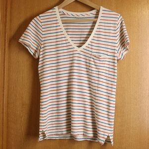 Like New Madewell Striped Cotton V Neck Tee Sz S